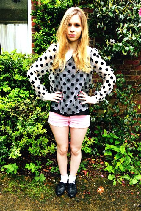 Crossdresser in cutout mini blouse with white sheer nylons jpg 682x1023